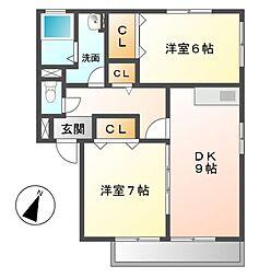 エクセル兵庫B[2階]の間取り