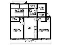スカイハイツ新田[4階]の間取り