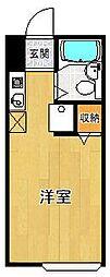 ウッドストックマンション 1階ワンルームの間取り