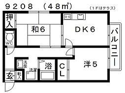パレス西田[201号室号室]の間取り
