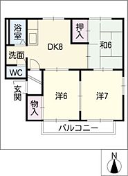 メゾン雅[1階]の間取り