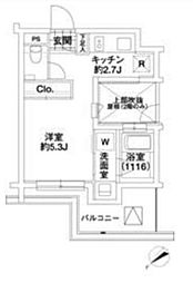 JR山手線 代々木駅 徒歩5分の賃貸マンション 4階1Kの間取り
