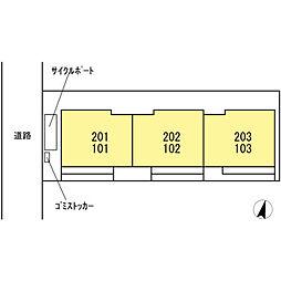 仮 D−room神明[203号室]の外観
