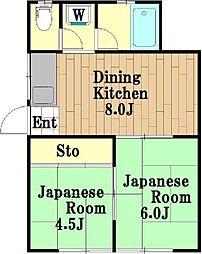 東京都世田谷区桜新町1丁目の賃貸アパートの間取り