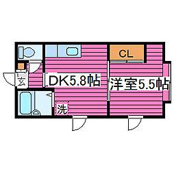 北海道札幌市北区あいの里三条5丁目の賃貸アパートの間取り