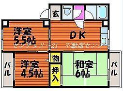 岡山県岡山市中区雄町の賃貸マンションの間取り
