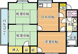 ブルーハイツ鷹の巣[2階]の間取り