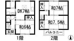 [テラスハウス] 兵庫県伊丹市大野1丁目 の賃貸【/】の間取り