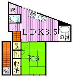 東京都足立区梅田8丁目の賃貸アパートの間取り