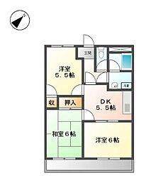 サンコーポS[1階]の間取り