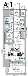 エスリード大阪ドームシティ 5階1Kの間取り