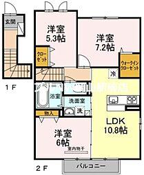 宮前ファースト 2階3LDKの間取り