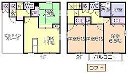 福岡県久留米市大石町の賃貸アパートの間取り