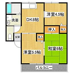 茨城県常総市本豊田の賃貸アパートの間取り
