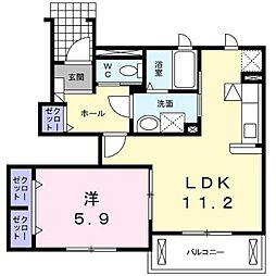 JR山陽本線 笠岡駅 徒歩3分の賃貸アパート 1階1LDKの間取り