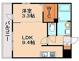 JR鹿児島本線 春日駅 徒歩3分の賃貸マンション 4階1LDKの間取り