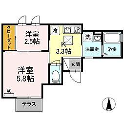 レスピーユII[1階]の間取り