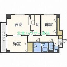 北海道札幌市東区北三十条東8丁目の賃貸マンションの間取り