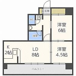 北海道札幌市豊平区平岸二条10丁目の賃貸マンションの間取り