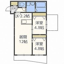 北海道札幌市豊平区水車町1丁目の賃貸マンションの間取り