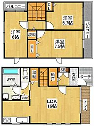 メルベーユ仁川高台[101号室]の間取り
