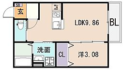 la glycine 東大阪[1階]の間取り