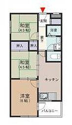 石切パークサイドマンション 額田町 新石切11分[2階]の間取り