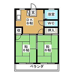 やしのコーポ[2階]の間取り