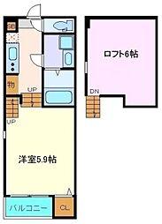 仙台市営南北線 長町南駅 徒歩8分の賃貸アパート 2階1Kの間取り