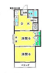 鳥取県米子市上福原4丁目の賃貸アパートの間取り