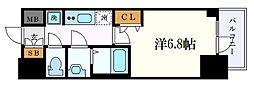 名古屋市営鶴舞線 浅間町駅 徒歩7分の賃貸マンション 14階1Kの間取り