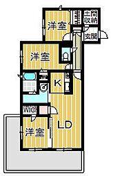 兵庫県西宮市松生町の賃貸アパートの間取り