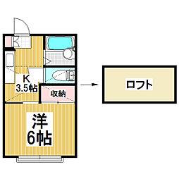 扇ハイツ3[1階]の間取り