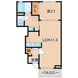 和歌山県和歌山市黒田の賃貸アパートの間取り