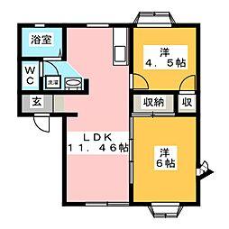 シャトー日和屋[1階]の間取り