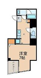 都営新宿線 曙橋駅 徒歩3分の賃貸マンション 12階1Kの間取り