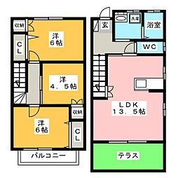 [テラスハウス] 福岡県筑紫野市針摺中央1丁目 の賃貸【/】の間取り