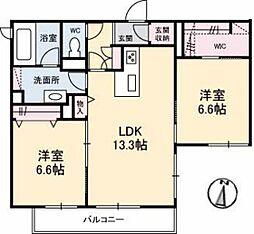 広島電鉄6系統 江波駅 徒歩10分の賃貸マンション 2階2LDKの間取り
