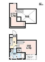西鉄天神大牟田線 大橋駅 徒歩14分の賃貸アパート 1階1SKの間取り