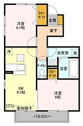 サンボナールA[2階]の間取り