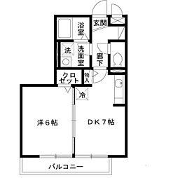 ベァーフルート深井A棟[2階]の間取り