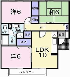 ルクプルF B[2階]の間取り
