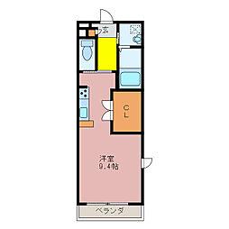 ライフコート久居野村 1階ワンルームの間取り