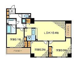 JR京浜東北・根岸線 横浜駅 徒歩4分の賃貸マンション 12階3LDKの間取り
