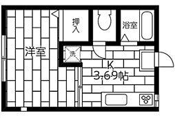 神奈川県横浜市神奈川区六角橋3丁目の賃貸アパートの間取り