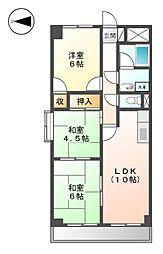 愛知県名古屋市北区楠味鋺3丁目の賃貸マンションの間取り