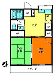 ハイツ神山 1号棟[2階]の間取り