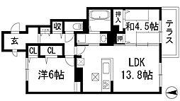 大阪府池田市渋谷1丁目の賃貸アパートの間取り