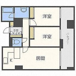 エスポアシティ札幌コンフォートプレイス 3階2LDKの間取り