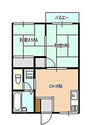 岡山県岡山市南区浜野3丁目の賃貸アパートの間取り